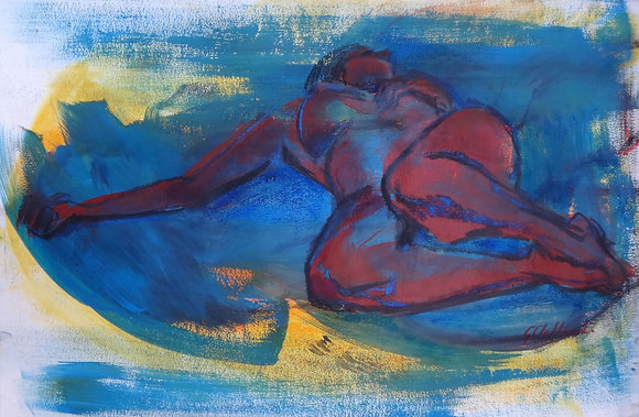 EXTRA SPECIAL Relaxing Blues  Mixed media 40cmx55cm 220gsm