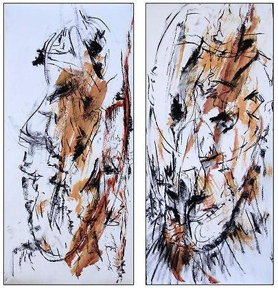 PNG Masks 1 & 2  drawings FRAMED SPECIAL 60cmx21cm +FRAMEs