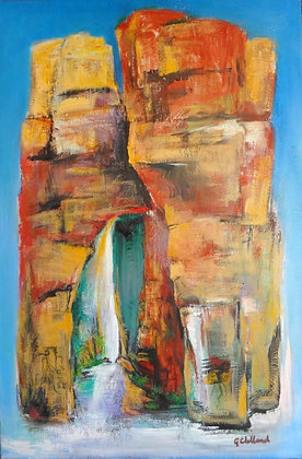 Shaft of Light in hte Gorge   90cmx60cm  oil over acrylic