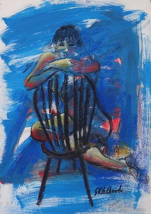 Nude on a Chair  55cmx39cm + mat & frame 70cmx55cm Mixed media