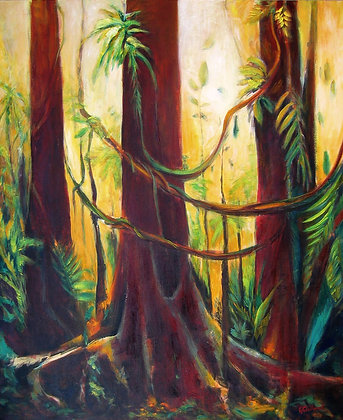 Rainforest Magic acrylic & oil on stretched canvas 120x90cm READY to HANG