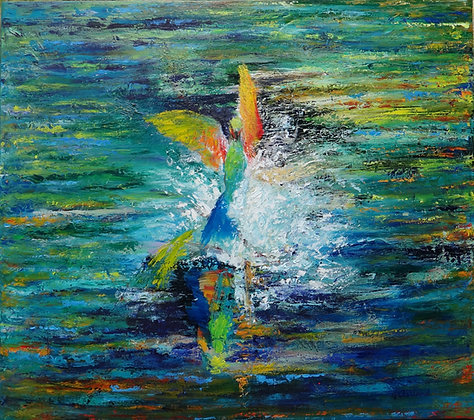 Rainbow Beeeaters Bathtime  SOLD  oil on stretched canvas 76cmx86cm