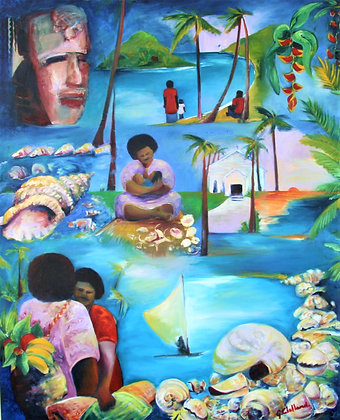 Glimpses of South Pacific Islands oil 150cmx120cm