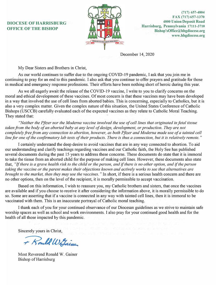 2020-12-14 Bishop Gainer Letter on COVID