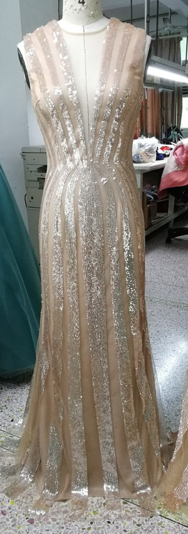 Graded sequin placement designed dress