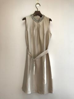 Silk dress with embellished neck