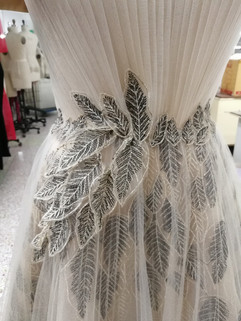 Embroidered leaf applique detail
