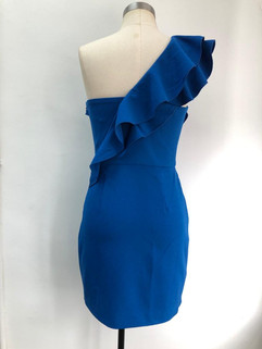One shoulder dress with dramatic frills. Boning installed in the bodice.