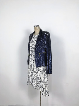 Stylish overall sequins blazer & Printed asymetric dress