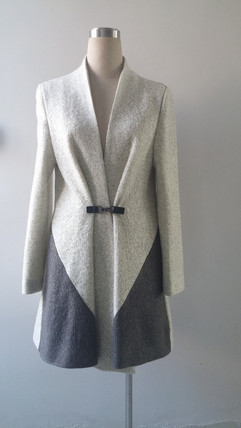 Wool blend coat with Leather Buckle closure