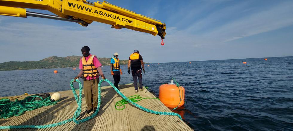 Crane Barge for Fish Farm