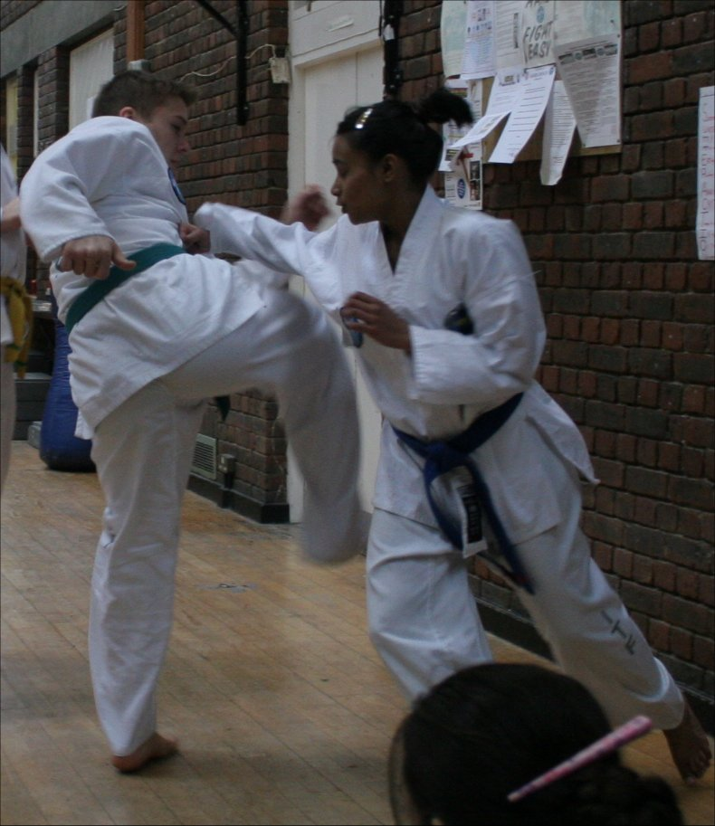 Sparring at a grading