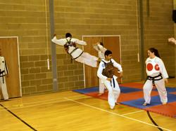 Twin flying Side Kick practice
