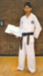 Dev Patel with his Black Belt Certificate