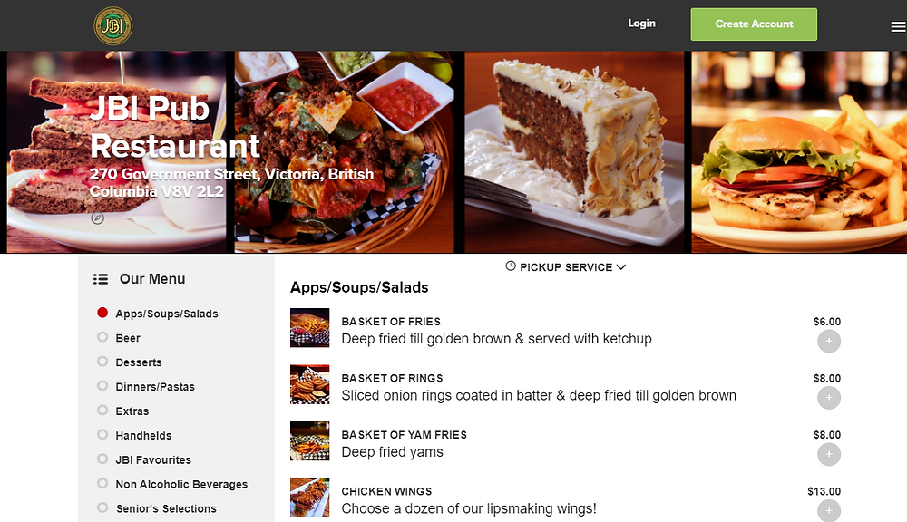 Screen shot of our online to go menu