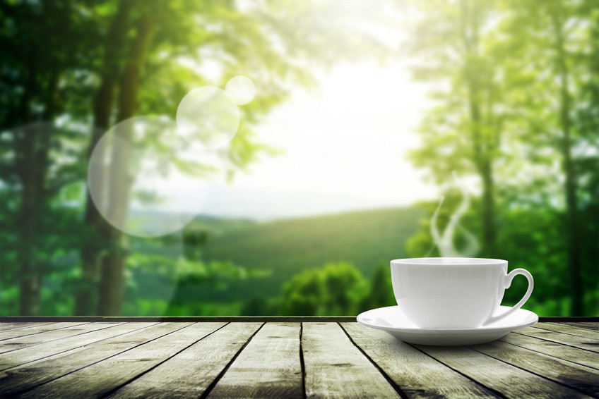 Coffee cup against countryside.
