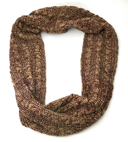 Brown and Beige Crochet Scarf