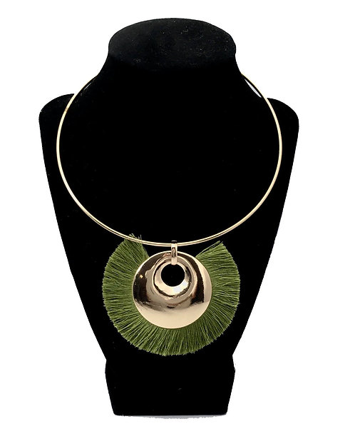 Basil Green  and Gold Necklace