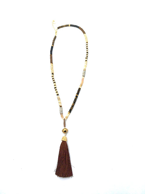 Earth Tone Beaded Tassel Necklace