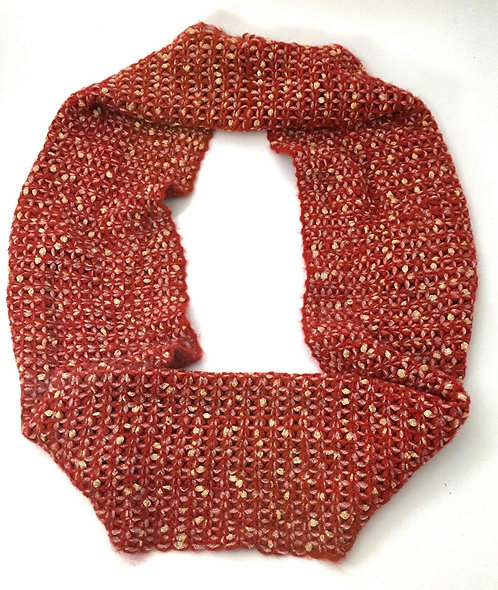 Deep Red and Cream Crocheted Scarf