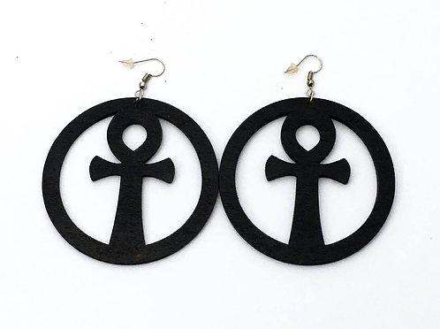 Black Wood Ankh Earrings