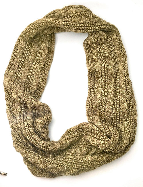 Thick Brown and Cream Crocheted Scarf