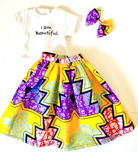 3 Piece African Print Inspirational Skirt Set