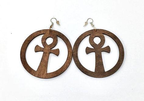 Brown Wood Ankh Earrings