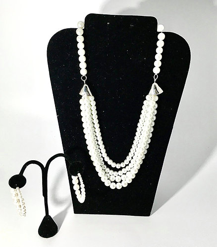 Draped White Strands of Pearls Necklace with Earrings
