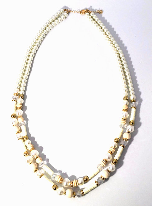 Double Strands of Pearls  enhanced with Decorative Beads