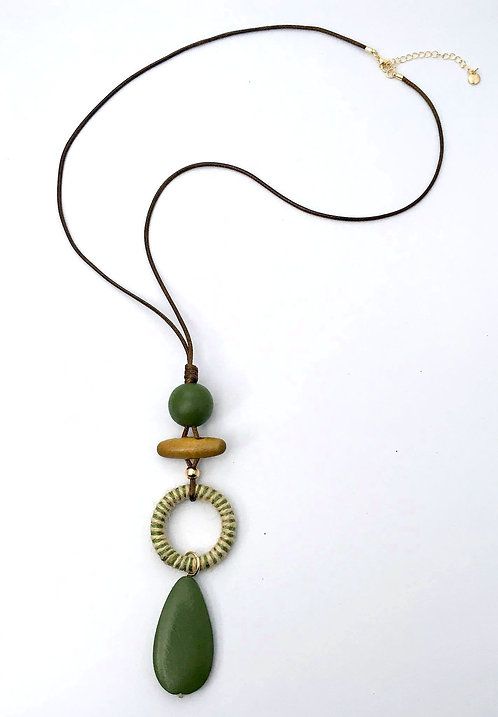Olive Green and Neutral Tone Necklace