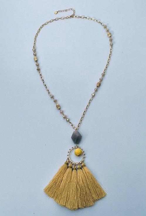 Golden Yellow Tassel Necklace