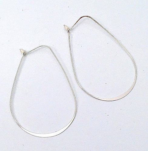 Thin Flat Silver Loop Earrings