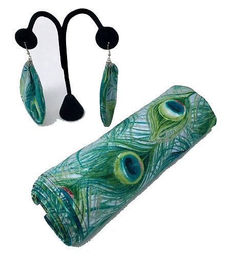 Peacock Printed Head Wrap with Earrings Set