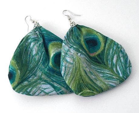 Peacock Print Fabric Earrings
