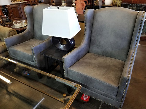 New Gray Wingback Chair