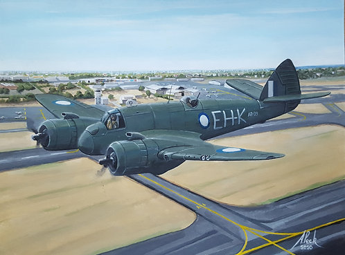 Beaufighter at Moorabbin, Australia framed original painting