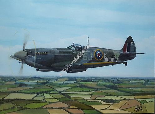 Spitfire Mk.IX MK356 framed limited edition print. 18x14 inch.