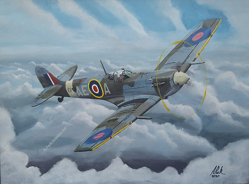 Spitfire Mk.Vb EP120 framed limited edition print. 18x14 inch.