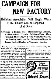 Campaign For New Factory, 2 Pages, 1915-