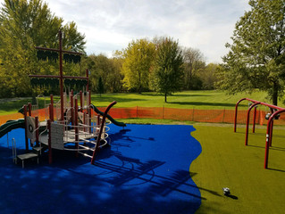 Pirate Ship Theme Uses Blue Playground Grass