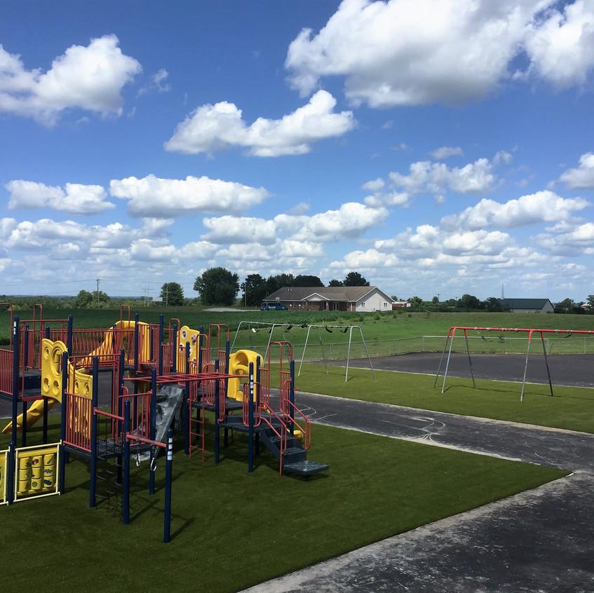 Playground after resurfacing with Playground Grass Ultra.