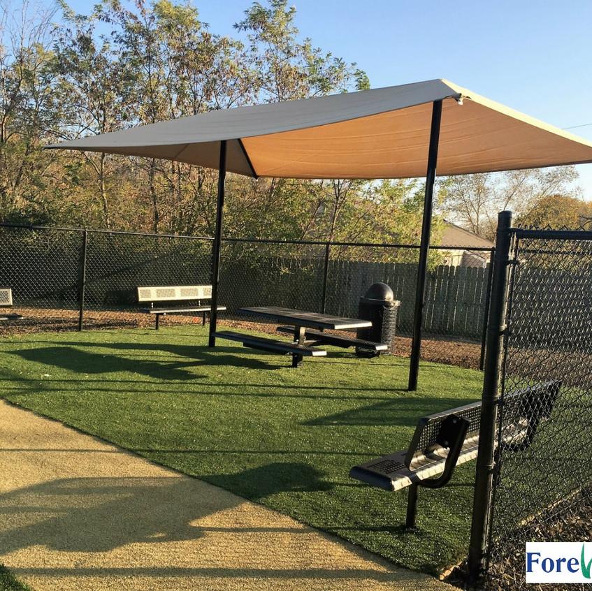 Multipurpose field uses SportsGrass Edge XP (green turf) and SportsGrass Arena (tan turf}