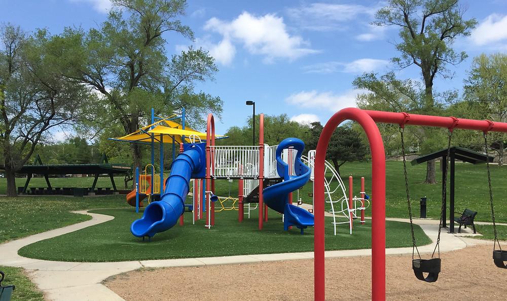 Grassy playground in Westwood Park