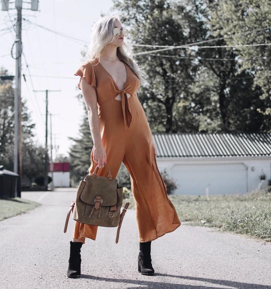 Pumpkin Jumpsuit Honeybum Caitlin Eliza Style