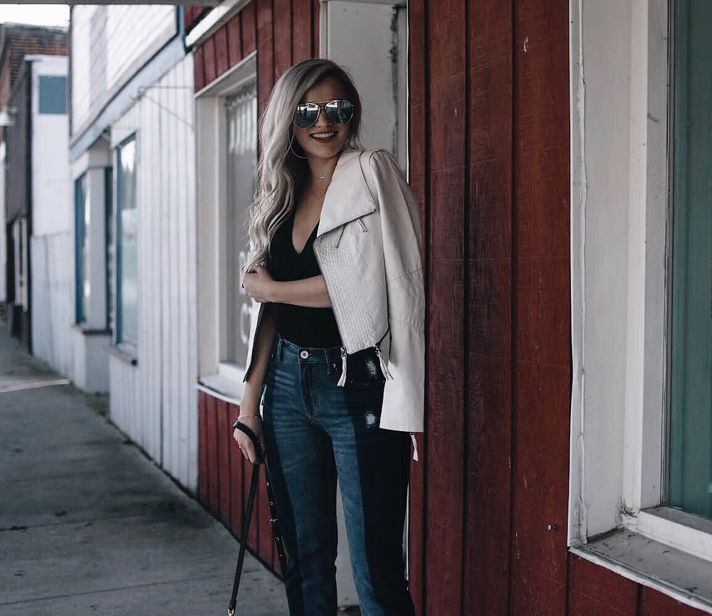 White Leather Jacket Two Toned Denim Honeybum Caitlin Eliza