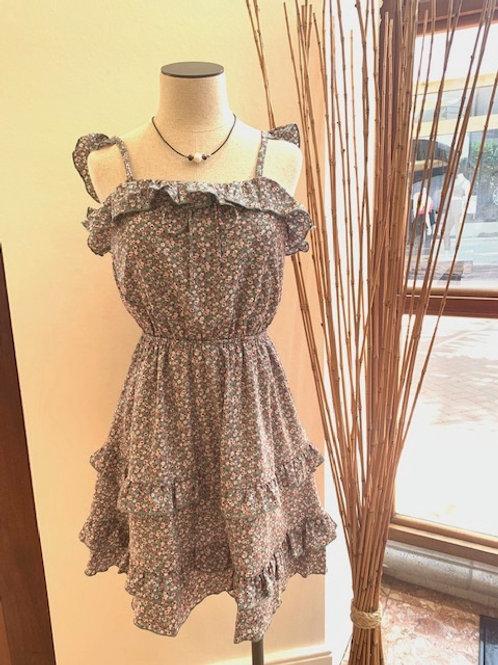 Ruffle Floral Print Dress