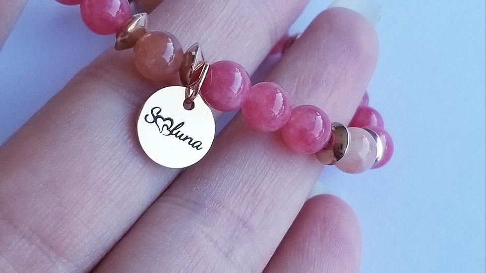 Bracelet rhodochrosite et pierre de soleil