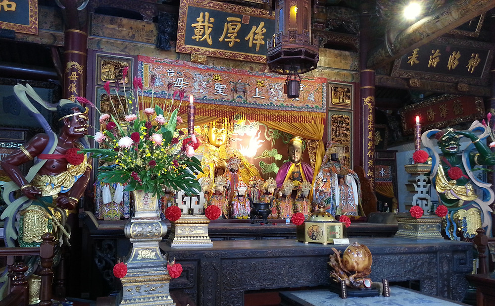 Effigies of Mazu, Shunfeng'er and Qianliyan in the Grand Matsu Temple