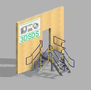 Square Platform Fire Escape - Stairs + R